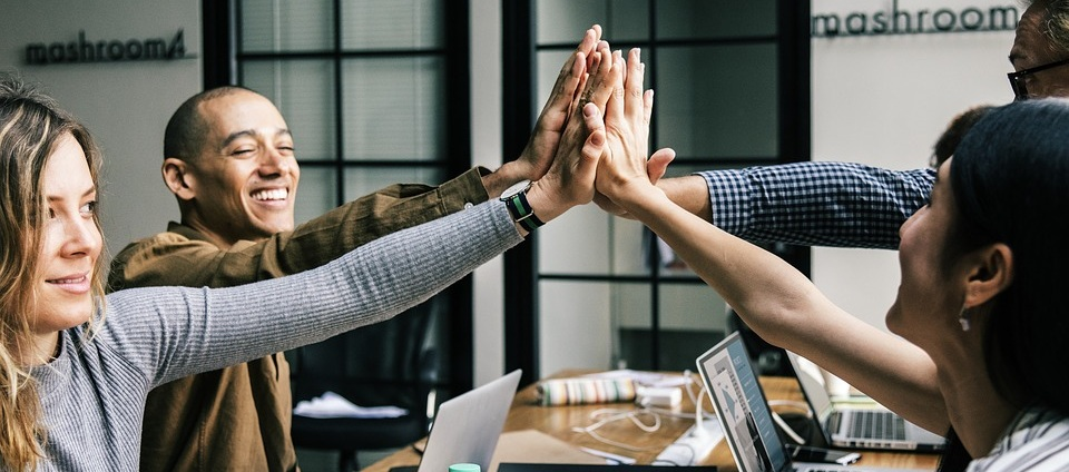 Office Teamwork Hands in Center from Pixabay