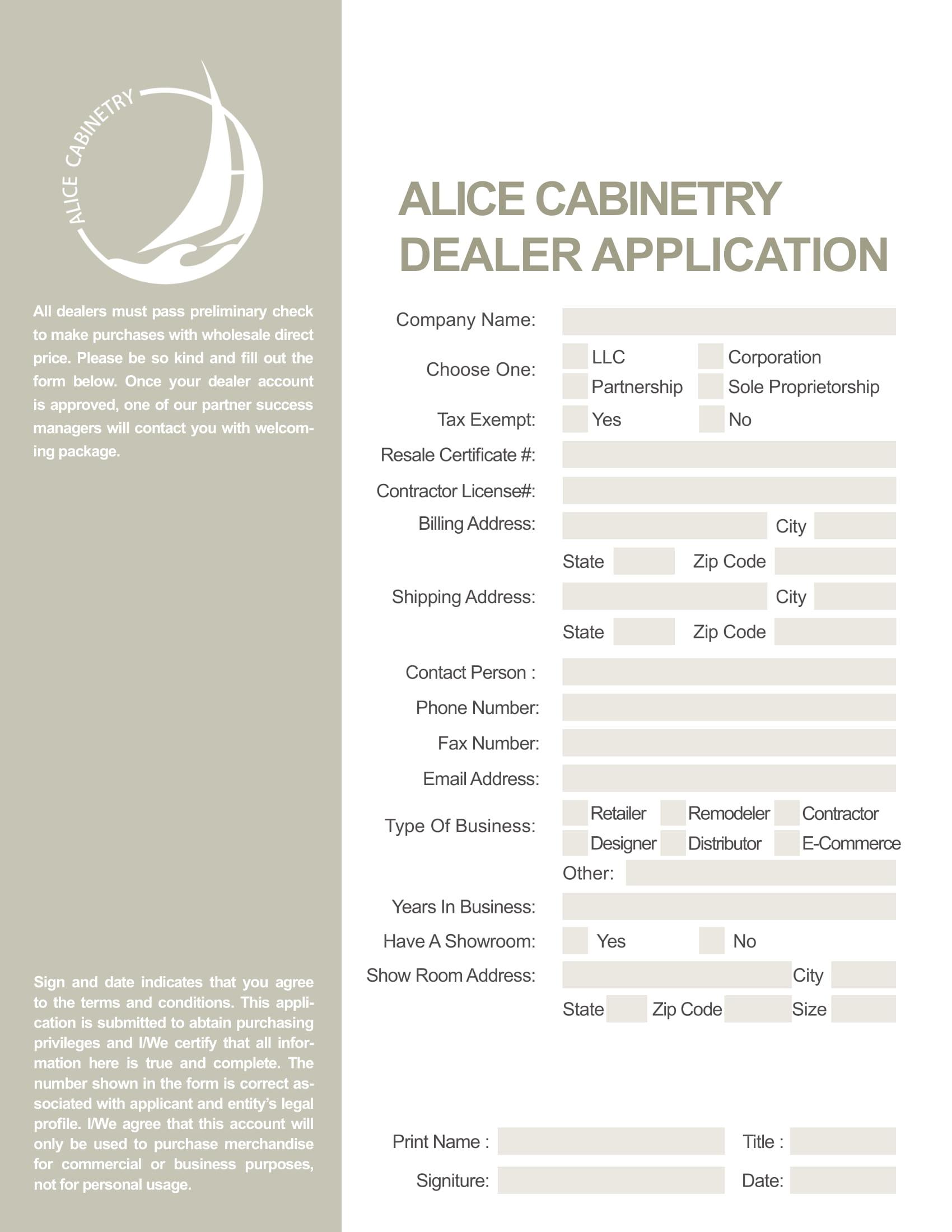 dealer application form