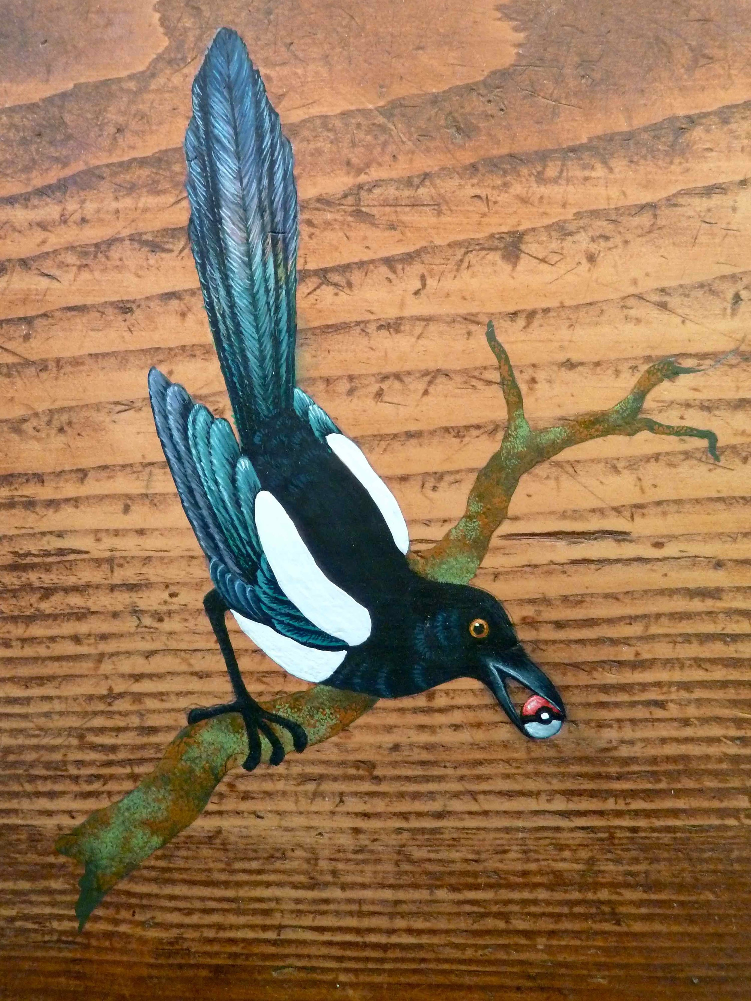 Magpie  Pica pica  (gouache on wood),2010.  Something tells me it's all happening at the Zoo  , Kevin Kavanagh Gallery