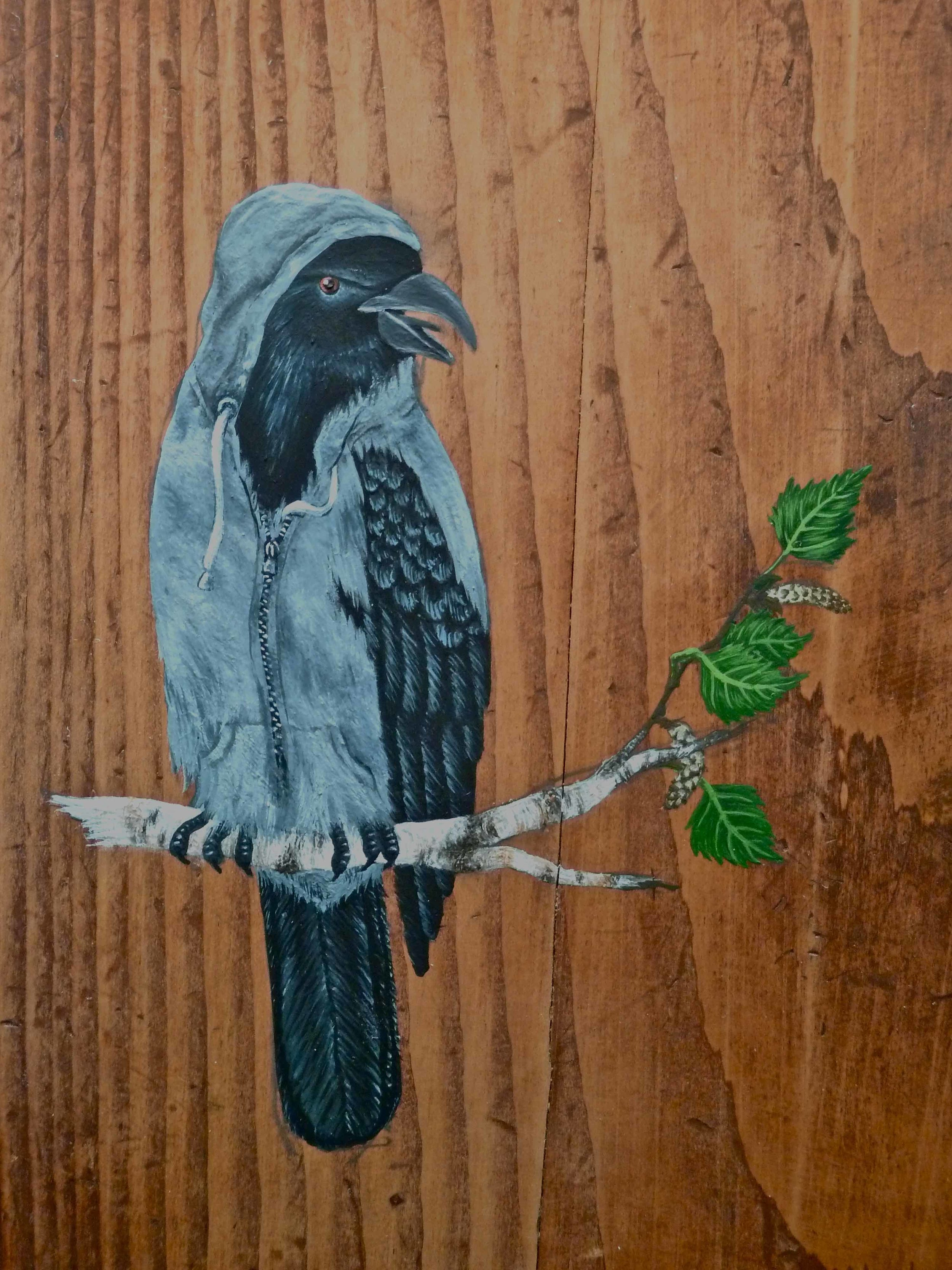 Hooded Crow  Corvus cornix  (gouache on wood), 2010.  Something tells me it's all happening at the Zoo  , Kevin Kavanagh Gallery