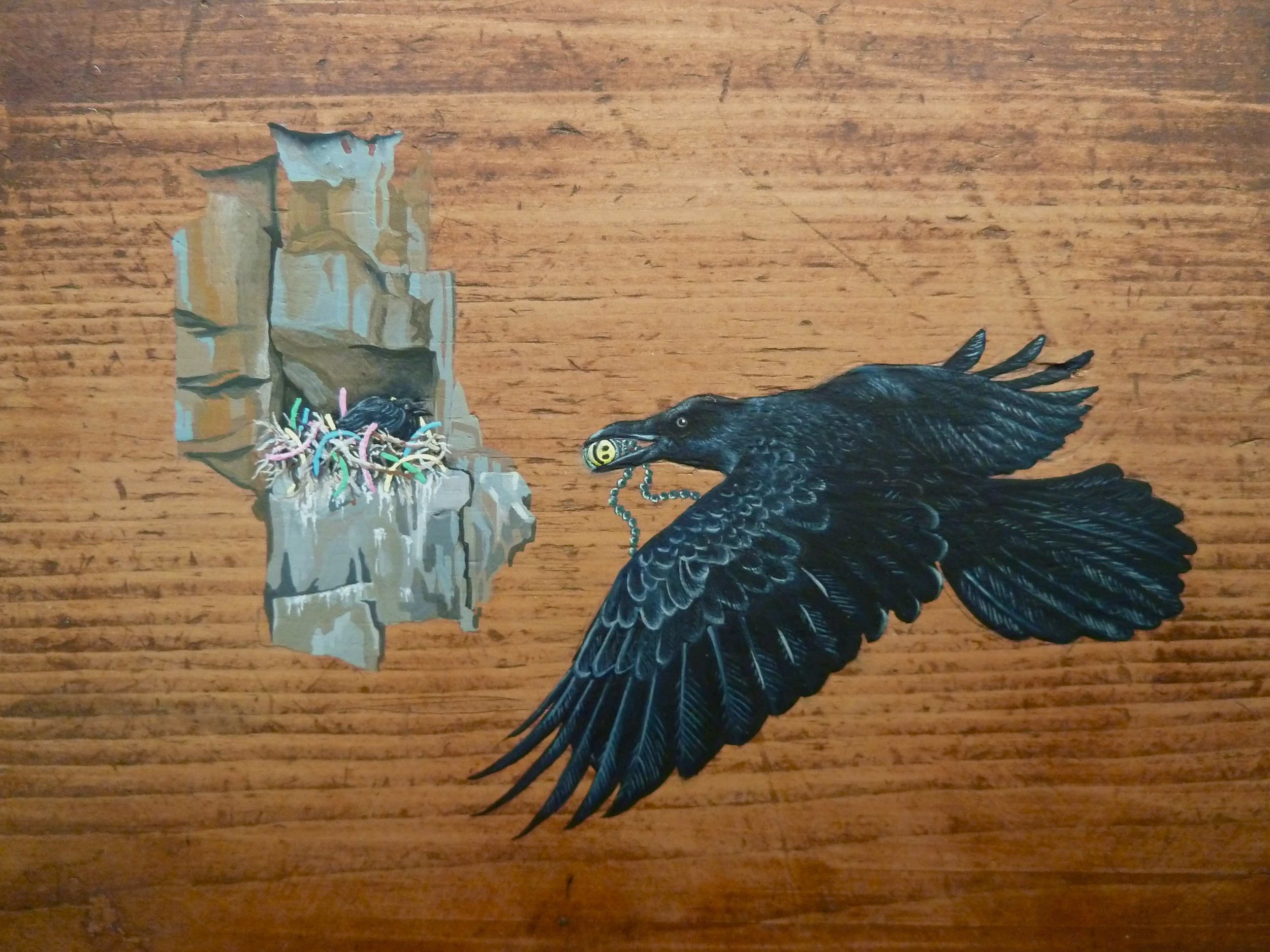 Raven  Corvus corax  (gouache on wood), 2010.  Something tells me it's all happening at the Zoo  , Kevin Kavanagh Gallery