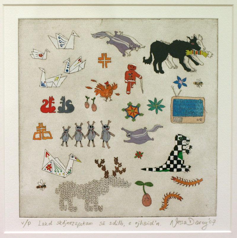 Lakd skdjnezapotam sa sdilb, e ojhaid'n (gouache on etching), 2007. Graduate Show , National College of Art and Design