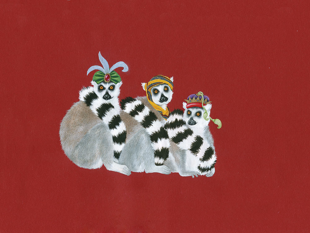 Wise Maki Christmas Card, 2010. Sold in aid of SEED Madagascar.