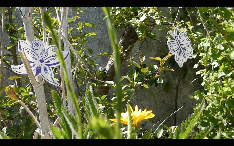 A  pollinator-themed video  work in progress. This is a still from a short video starring pollinator drawings and sound recordings collected from members of the public. 2017
