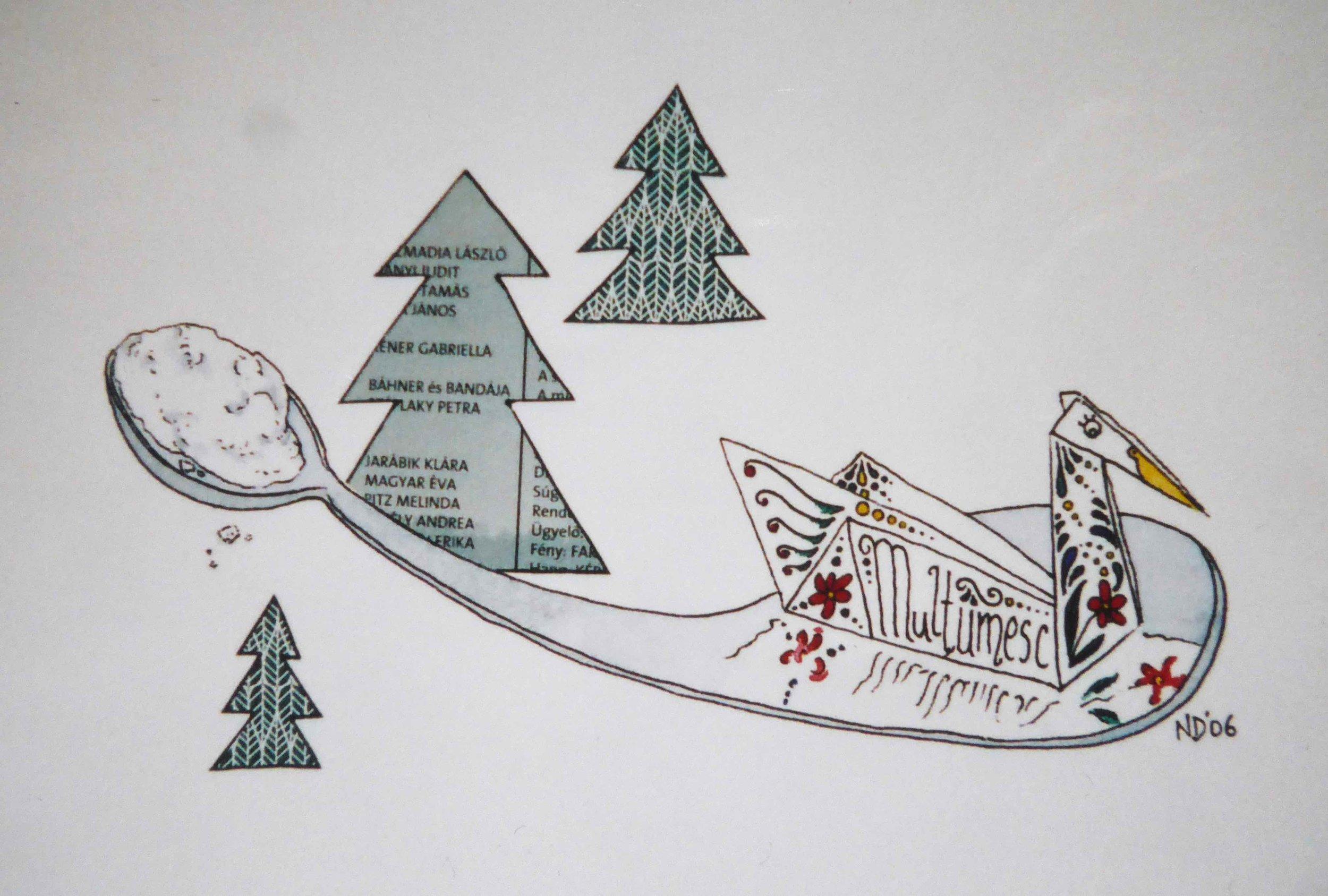Lingura de Zahar (ink, watercolour, Hungarian theatre programme), 2006.  Four Jacks and a Cork , Gallery 53.