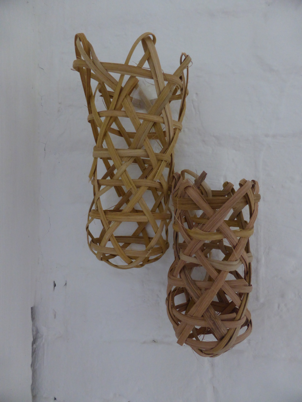 """Woven """"queen cells"""" from  Swarm Stories  (sound installation), 2017.  Bee Time Artist Residency: Exhibition of Work in Progress , Emerson College, UK."""