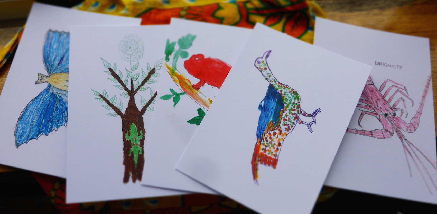 Wild Postcard Project  , Sainte Luce, Madagascar (drawings by the children of SEED Madagascar's Club Atsatsaky), 2018.