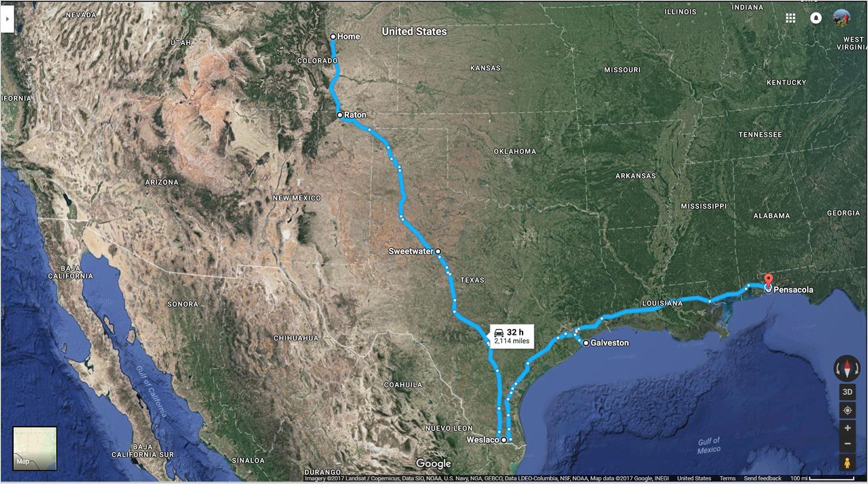 Dave's Denver > Pensacola Short Route