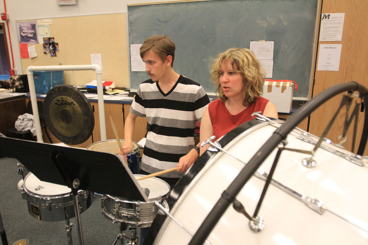Nate McCroskey-Izzett and Lauryn McCroskey on Percussion