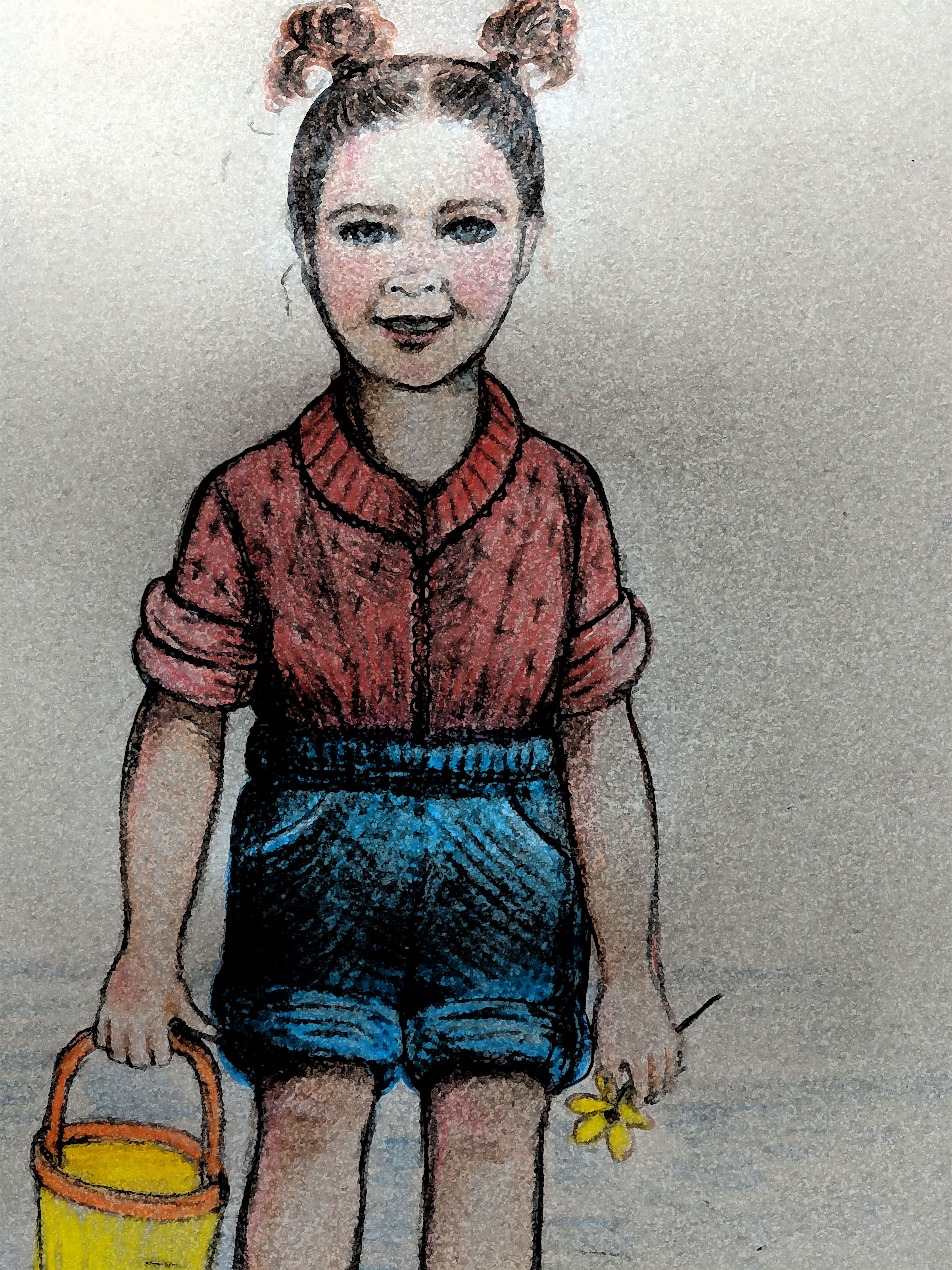 "That's me but it also looks like my mother when she was a little girl. I drew it from a memory of a faded photograph of myself at 3 1/2 standing in the Gulf of Mexico.  I don't remember playing in the water but I do recall other parts of the trip I took with my mother by train from Iowa to Brownsville, Texas.   I remember the porter making up the bed and then coming back in because I dropped my toothbrush between the bed and the wall. I can hear the clack-clack of wheels on rails and see the lights as we pulled into a station, the mail pouch on a hook.   Everything is brown in my memory including Brownsville station — small, wooden and dimly lit by a single yellow bug light. A man came dashing up to meet us in a brown suit, tie and hat. My mother called him 'Brownie' and he called her 'Toots'. They hugged like old friends.   ""Is he Brownie because of his clothes?"" I wanted to know but my mother ignored me and continued to casually ignore me for the rest of the visit. I came to see this as a gift; I saw her as someone besides my mother, on her own and being herself and also letting me be myself which I took to like a duck in water. She hung out with her sister and women friends and I hung out with my grandfather who had a pure, uncomplicated love for me that I could feel and which I held as a touchstone for the rest of my life. I was comfortable by his side as he worked.   My grandfather gave me something which I accidentally dropped through the slats of what I thought was a raft; I remained unbearably sad about it. Years later, I asked my mother what it was. She remembered my hysterics. ""It was just a yellow daisy and you were on the dock.""   We stepped over the border into Mexico and into dirt roads, dust and color. I followed behind my mother and her sister and friends, twirling in a bright green cotton dress with colorful embroidery and ribbons. I picked up the travel bug and never let it go."