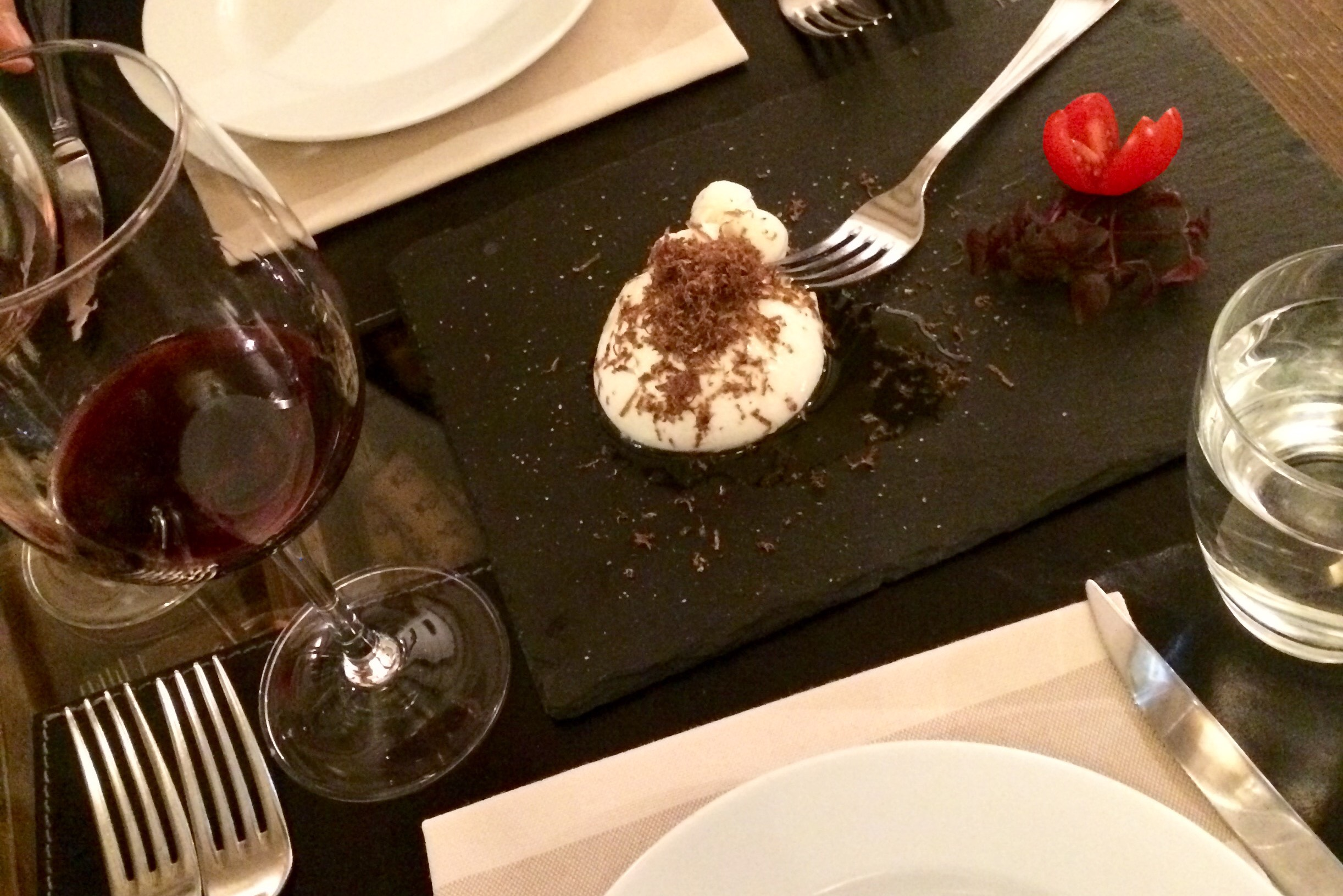 Burrata with shaved truffle.