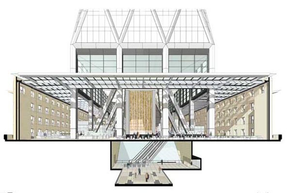 A cross section of the foyer and lobby with the tower rising inside.