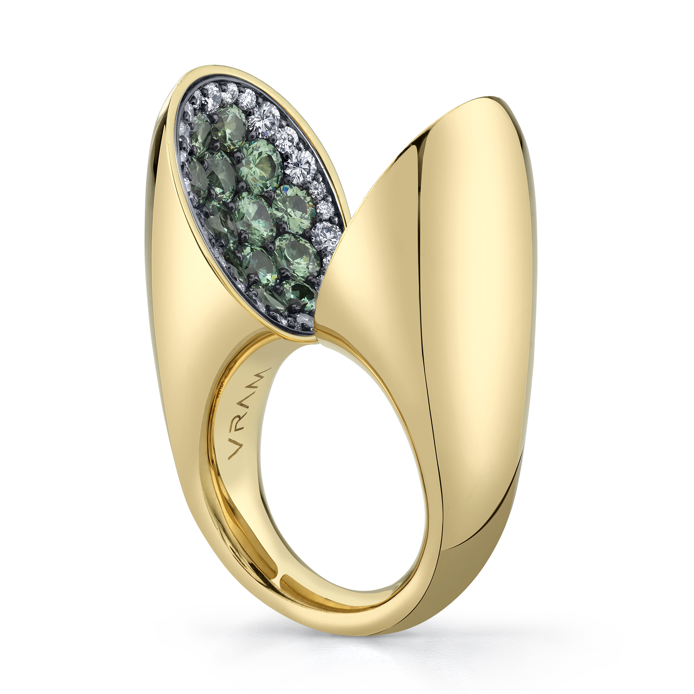 VRAM Echo Ring With Diamonds and Demantoid Garnets 2.jpg