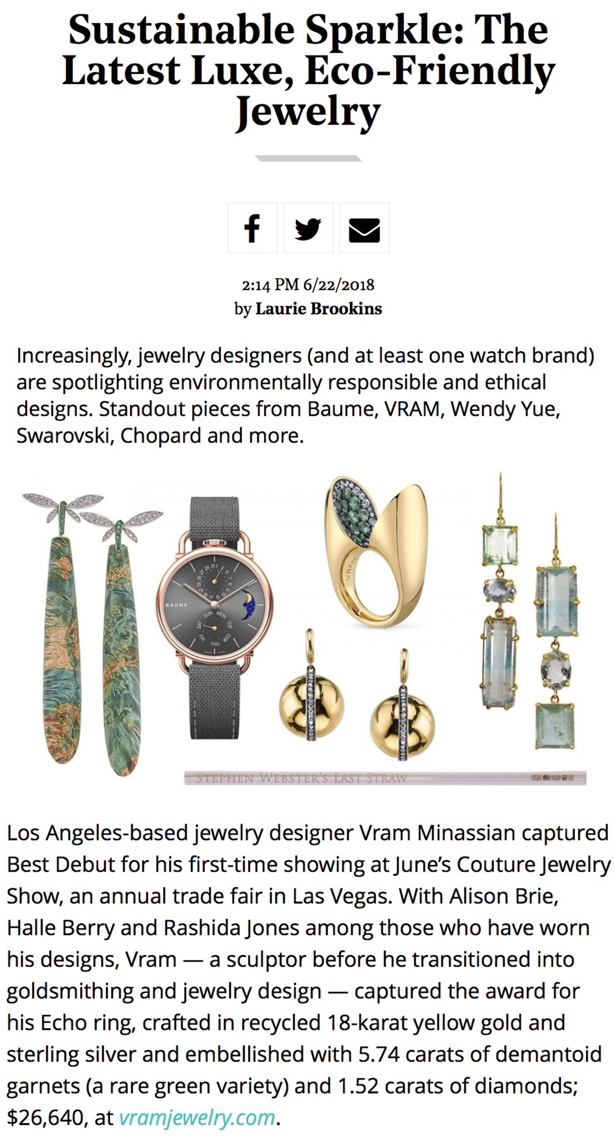 VRAM jewelry hollywood reporter sustainable sparkle echo ring