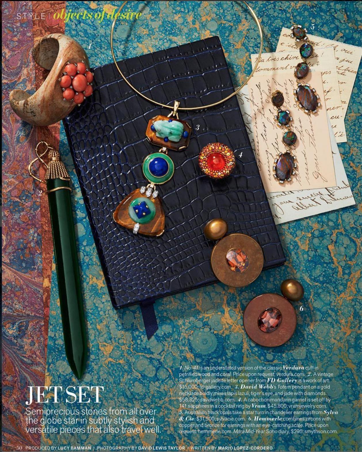 VRAM Jewelry mandarin garnet and sapphire ring Veranda Magazine