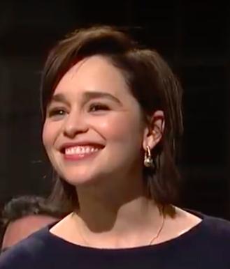 Emilia Clarke wears VRAM Jewelry Chrona Hoops on SNL