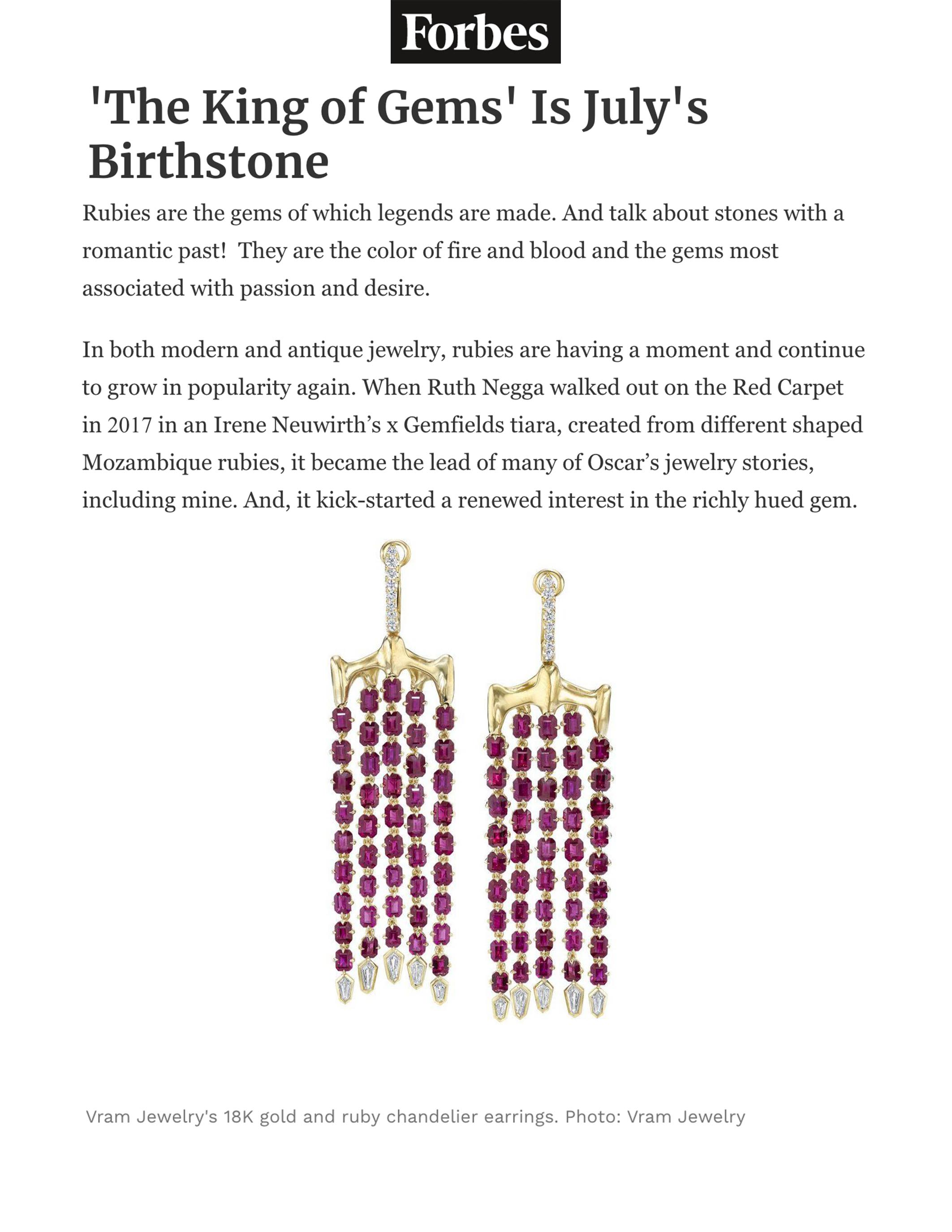 VRAM Ruby Chrona Chandelier Earrings Forbes July 2019