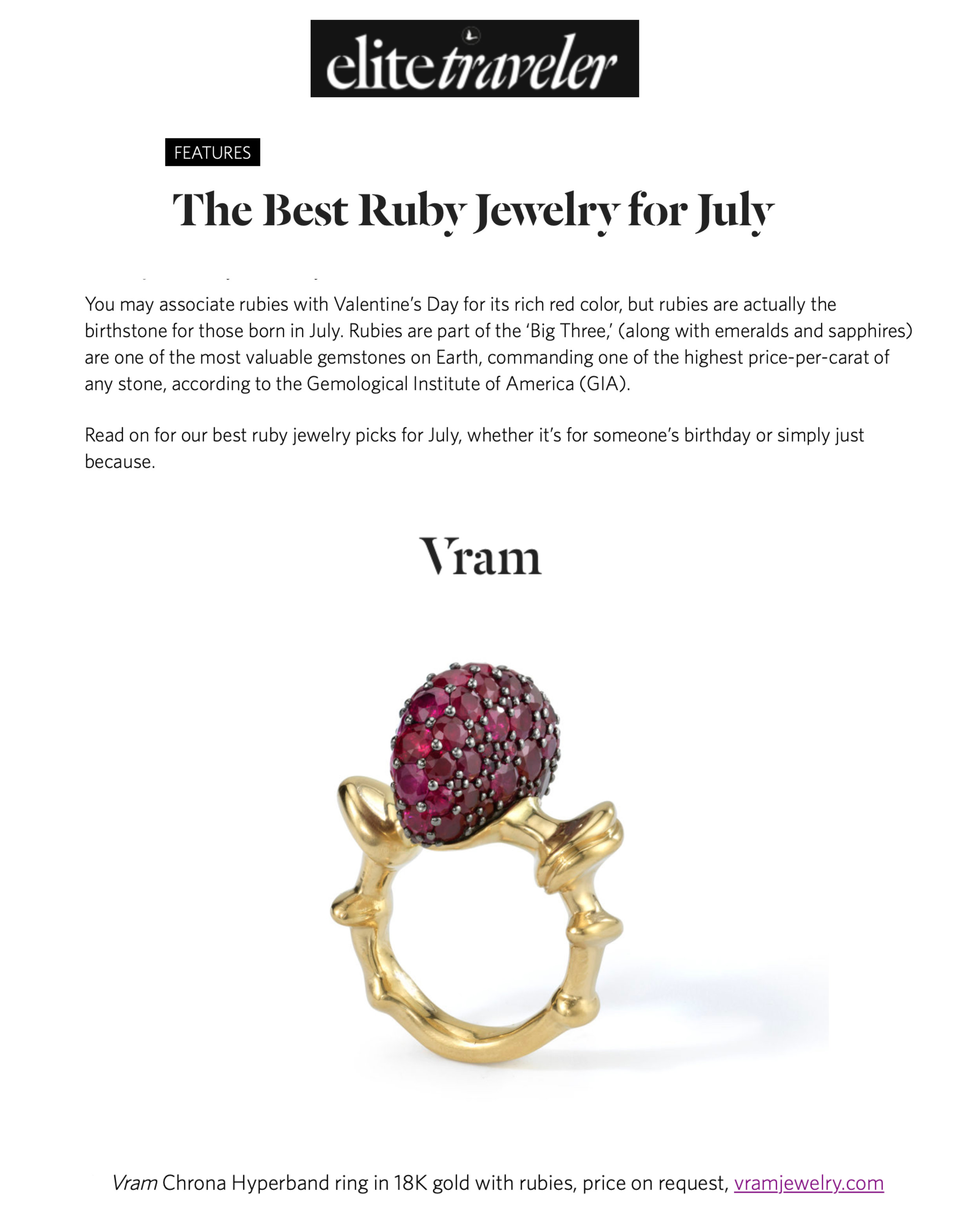 VRAM Chrona Hyper Band Elite Traveler Magazine Best Ruby Jewelry July 2019
