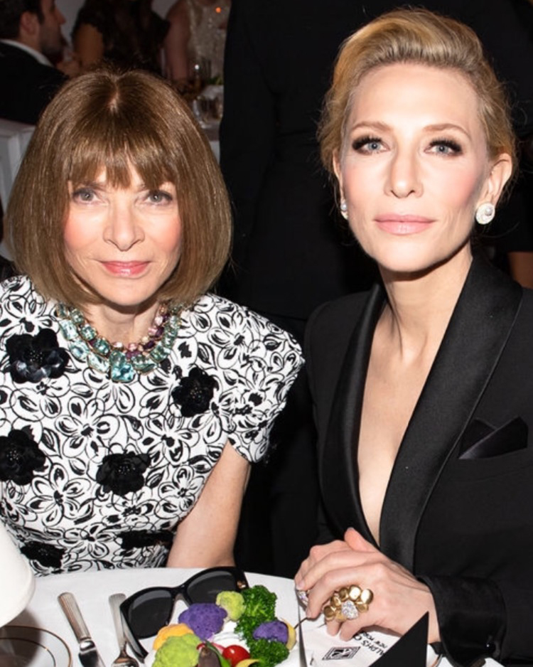 Cate Blanchett wears VRAM Colony VIII ring with Anna Wintour at Ralph Lauren NYFW 2019