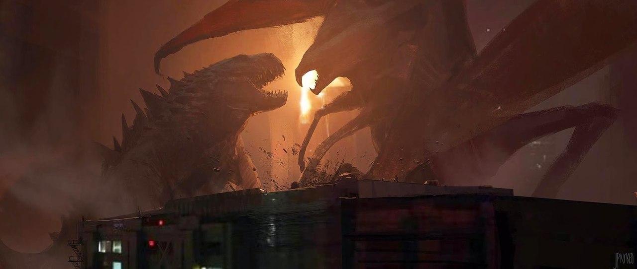 Концепт арт для фильма Godzilla от John Park. Обратите внимание на разрешение текстуры зданий.