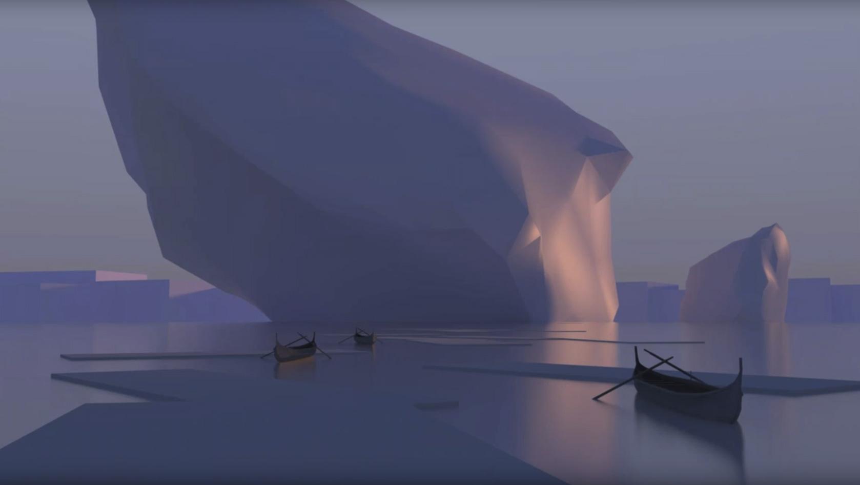 3D база для картины с айсбергом