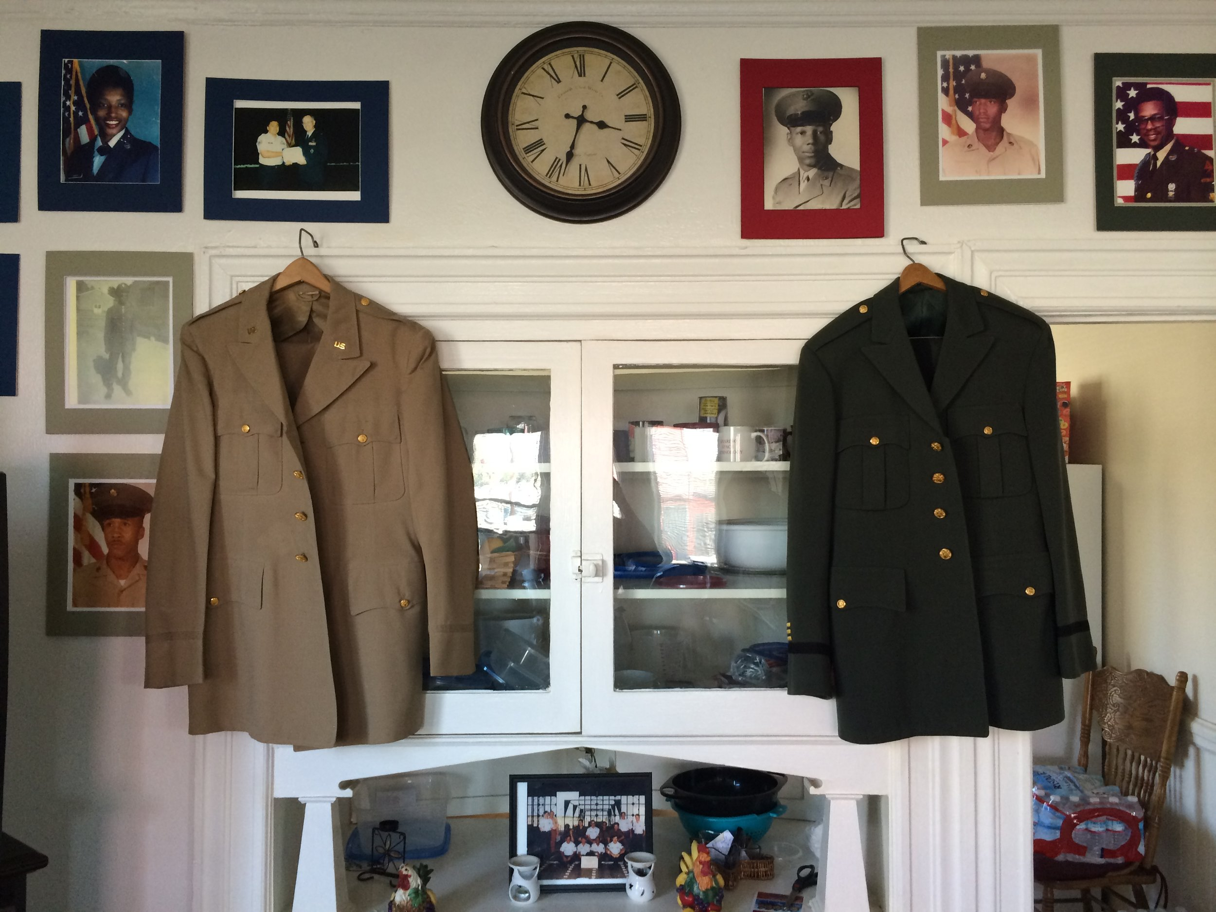 VRP's collection of vintage military uniforms in the VRP home