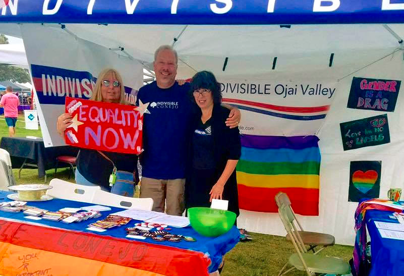 County Indivisibles Offer Allyship, Activism at Ventura Beachfront Pride     Ventura's annual Pride Festival on August 19 offered a panoply of sights,   sounds   and tastes -- and, for the first time this year, the county's Indivisible groups offered attendees an opportunity to learn about Trump-era activism. The Indivisible booth was staffed by representatives of the Conejo,   Ventura   and Ojai groups, who chatted up   passers-by   and handed out stickers, buttons and congressional call sheets.