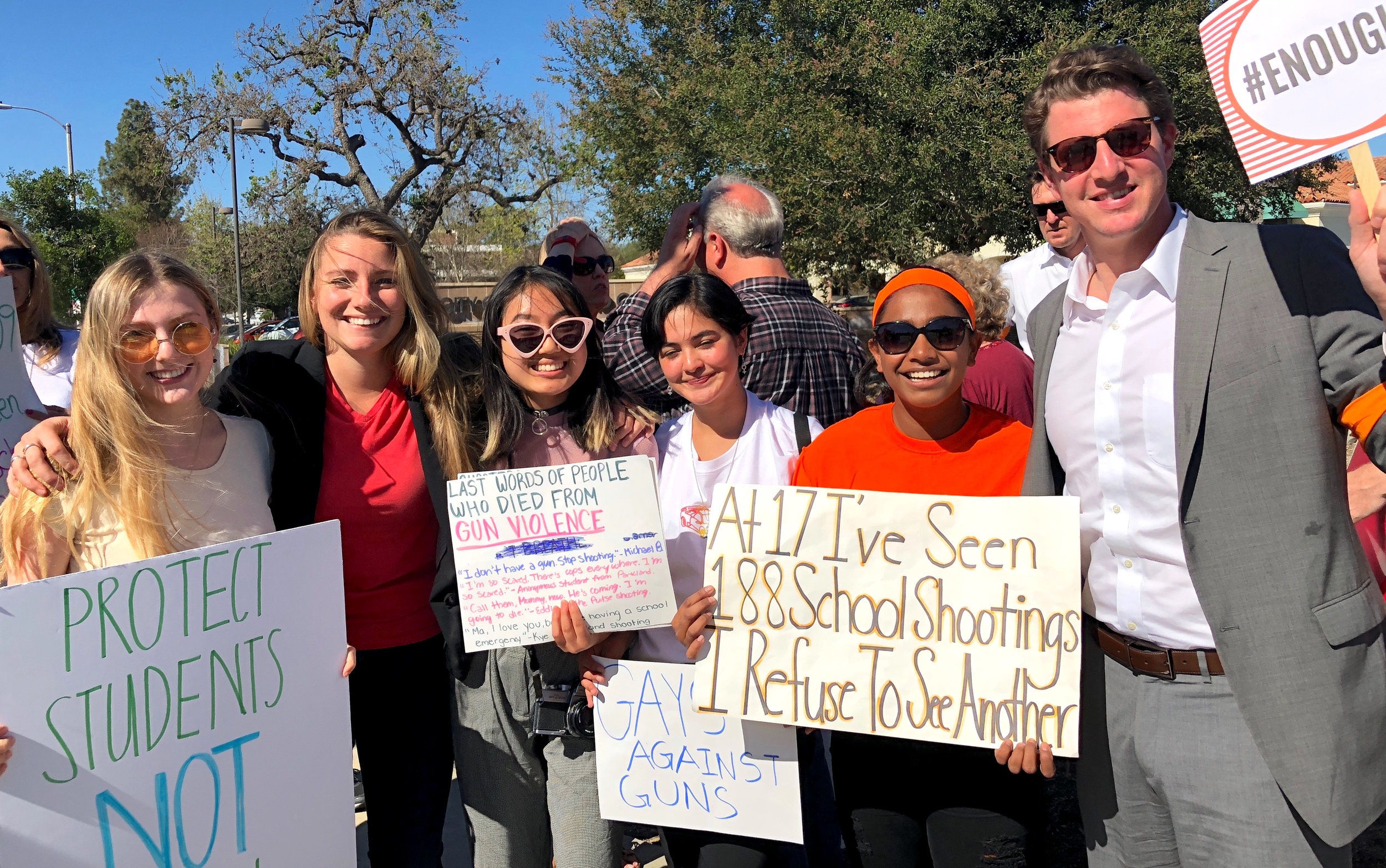 Sen. Henry Stern (right) and a number of Indivisible: Conejo activists joined a protest sponsored by UACT, the teachers union for the Conejo Valley USD, after school on 4/20.