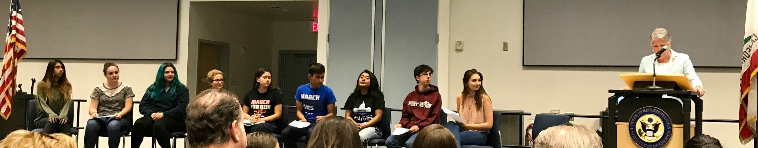 Inspirational student-walkout organizers from across Ventura County joined Rep. Julia Brownley onstage during her Student Town Hall on Gun Safety, April 21 in Camarillo.