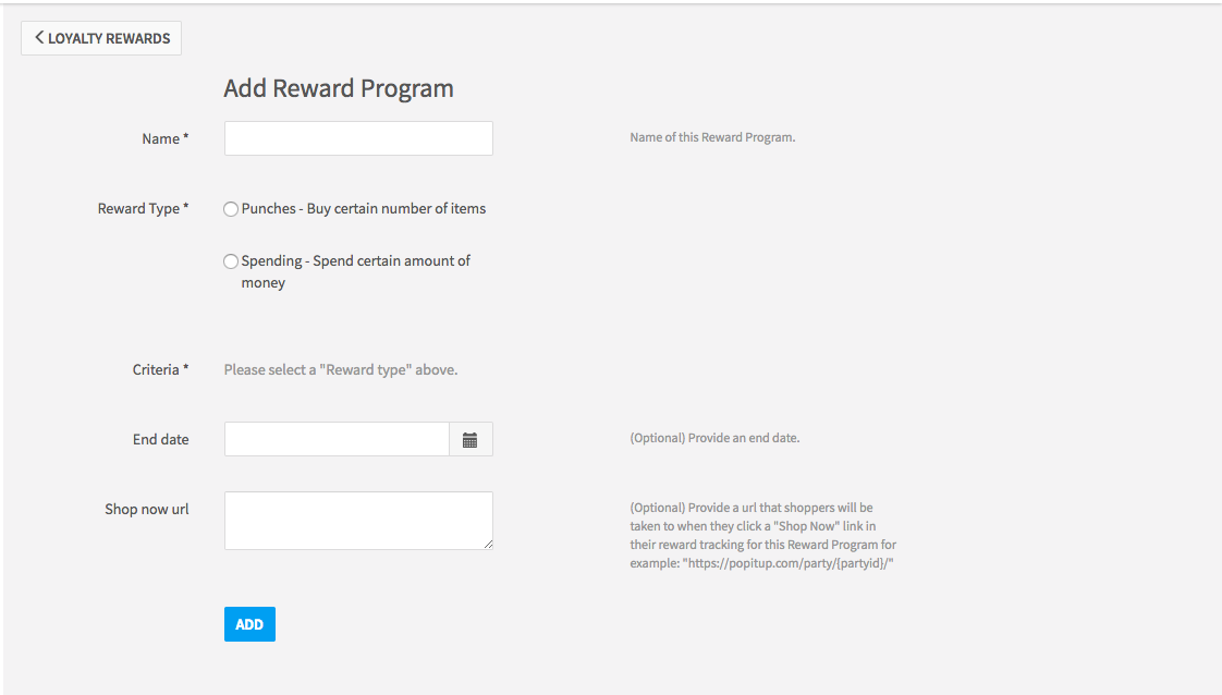 "Screenshot of the options available when creating a new rewards program, including setting the Reward Type, End Date, and adding a ""Shop now url""."