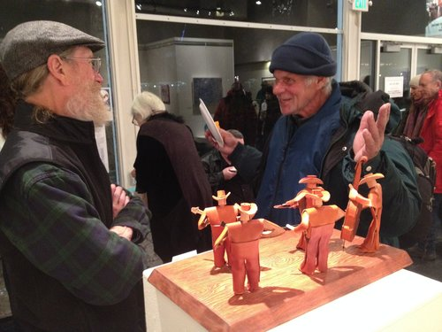 "Alan Cunningham (left) with his new ""leather men"" sculpture  Bluegrass Band ."
