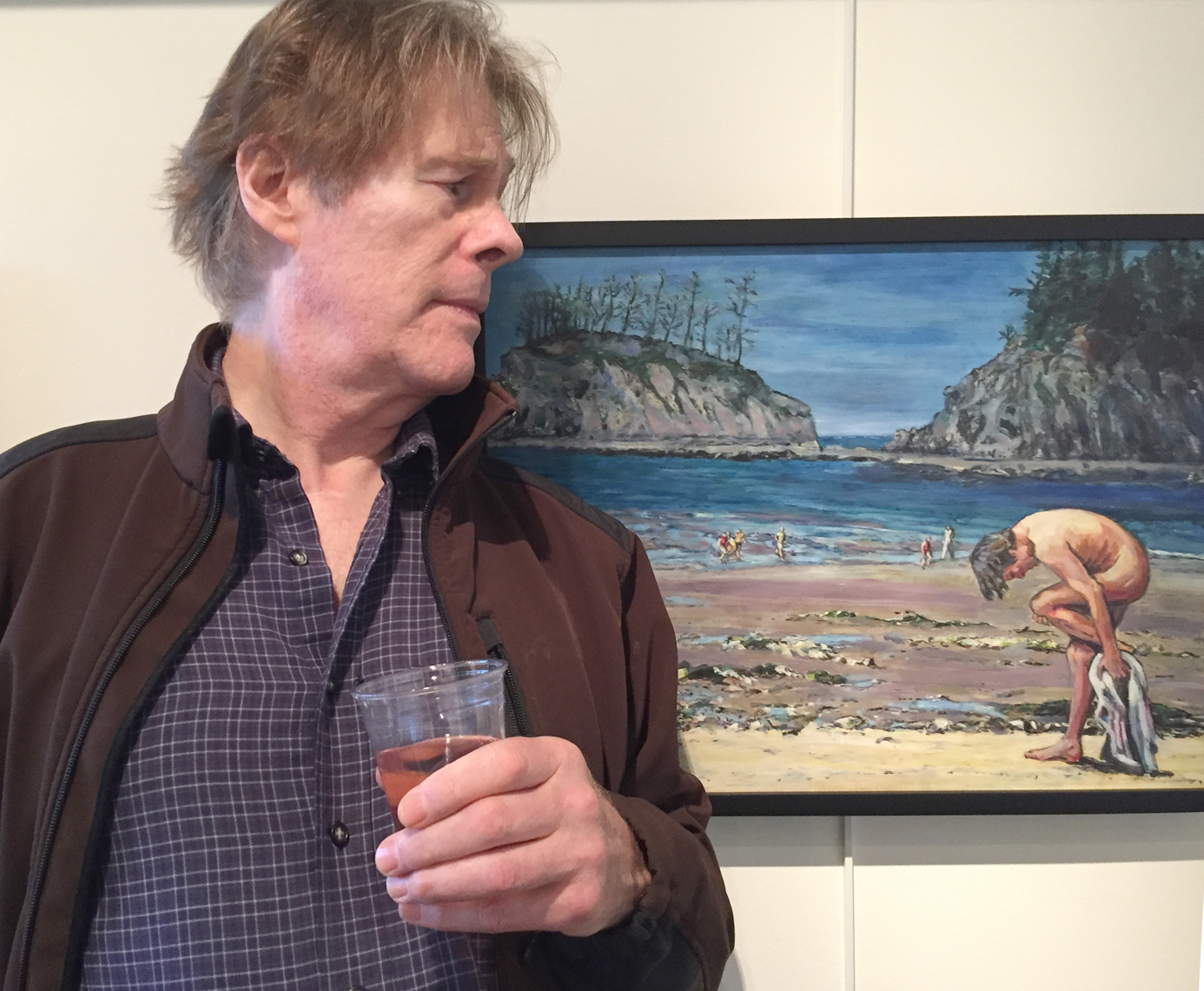 - Long-time A/NT Gallery associate and life model Gary Stewart looks at himself in a painting by Mary Hutchinson.