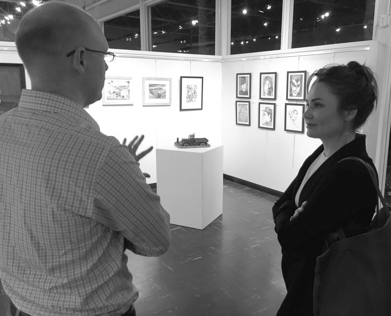 Captive Art  show coordinator Daniel Shea with art therapist Nicole Barquist
