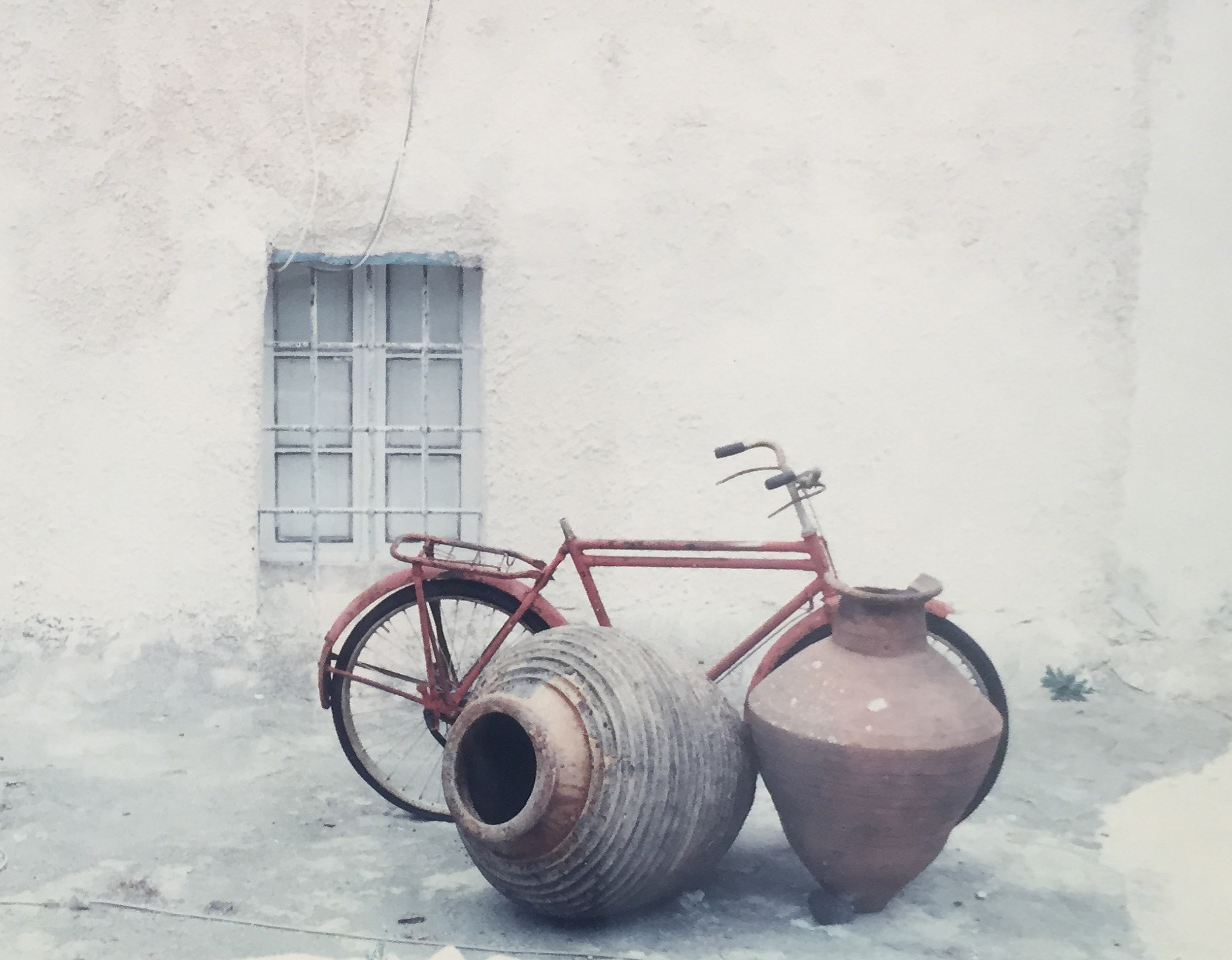 Bike on Roof/Santorini   Elizabeth Atly