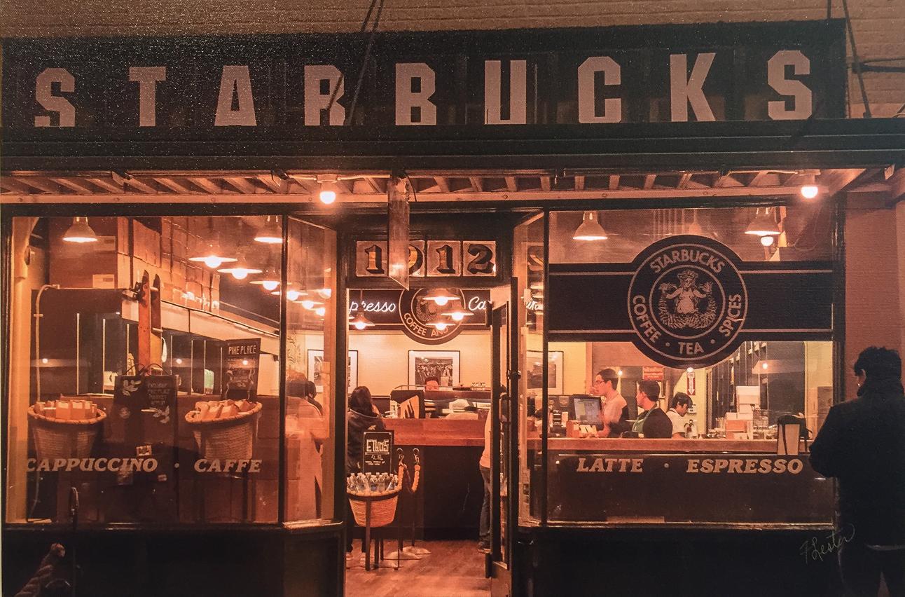 Starbucks at Pike Place Market.   E Faithe Lester