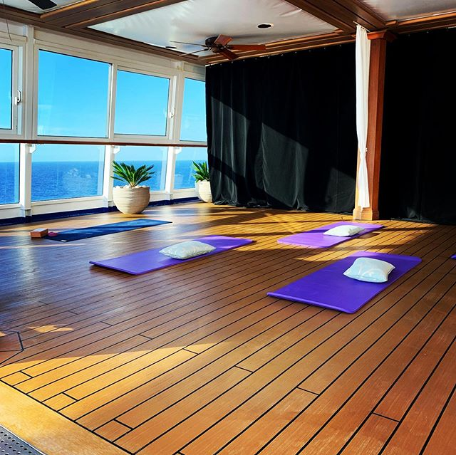 My floating workplace for a week. Sun salutations to the Mediterranean. 🌊🧘🏽‍♂️🛳🧜🏽‍♀️🛳🧘🏽‍♂️💖 . . . . . . . . . . #instayogi#iyengaryoga#youtuber#yogisofinstagram#paris#parisyoga#yogachallenge#yogapose#instagramer#mp.teachers# malaika-padma#yogatherapy#yogaover50#strongisthenewsexy#lululemon#malaika_padma#mp.teachers#yogisofinsta#yogaphotography#myyogajourney#yogasearcher#guerillayoga#privateparty#meditternaenne#yogaonaboat