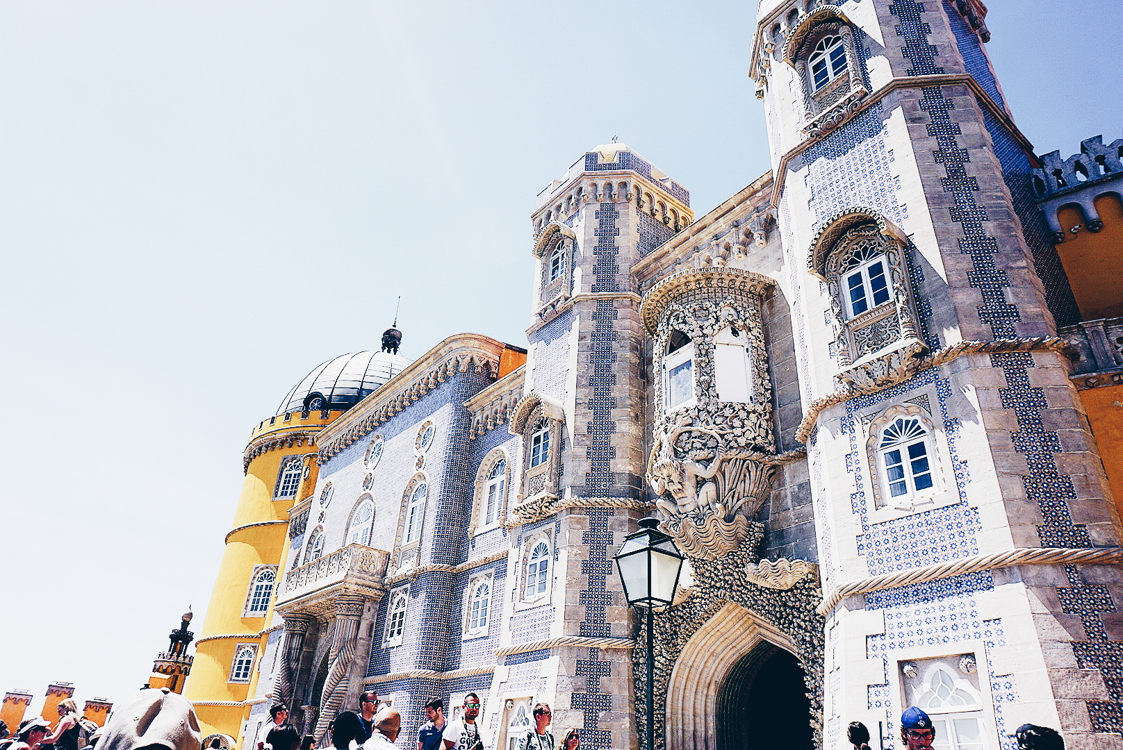 Pena Palace - The Pena Palace is a Romanticist castle situated in Sintra. Attract tourists and inspire artists with his beautiful arquitecture,it looks like is made of a different pile of castles because of his bright colourful walls.This place is Magical.
