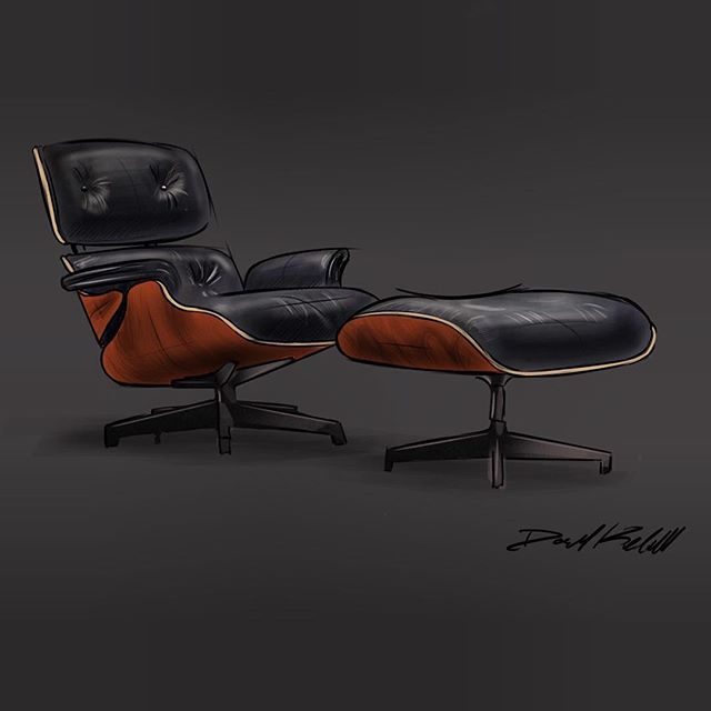 Finally got around to sketching an Eames lounge chair and switched to a new drawing app. Lemme know what you guys think!  #procreate #industrialdesign #idsketching #instaart #art #sketchbook #furnituredesign #eames #design