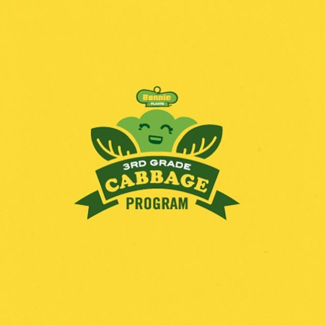 "Designed this ""cute"" brand for our friends at Bonnie Plants. The 3rd Grade Cabbage Program is a wonderful way to engage children's interest in agriculture, while teaching them not only the basics of gardening, but the importance of our food systems as well. Each student is given a small cabbage plant to grow. At the end of the season, teachers from each 3rd grade participating class select the student who has grown the ""best"" cabbage, which is based on size and appearance, and award them scholarships."