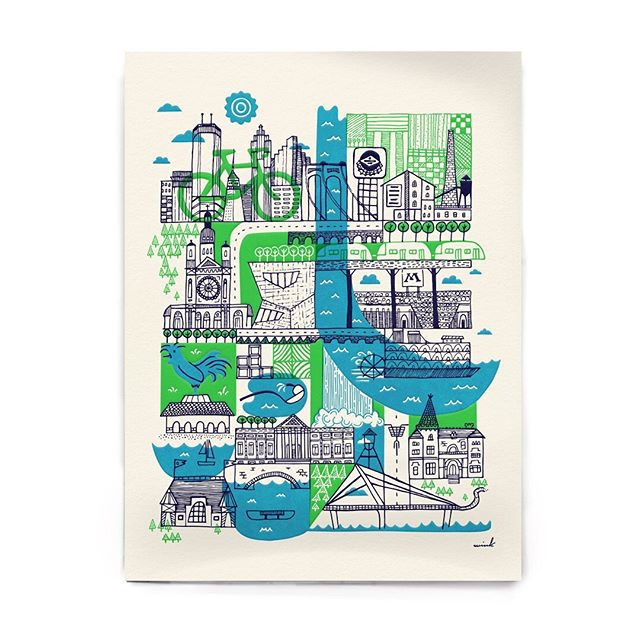 The Neighborhood Ride, by Jenny Moran of Wink | @WinkMpls  One of 5 ARTCRANK designs featured on @NiceRideMN stations around Minneapolis  this summer. Buy the limited edition poster in our shop! @winkwerks @winkmpls