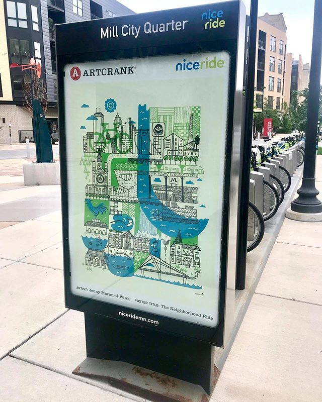 Fun to see our posters around town at Nice Ride bike locations! Thanks to ARTCRANK  and @NideRideMn for the opportunity.(PS, you can get the poster in  our shop @winkwerks @Wink mpls and @artcrank)