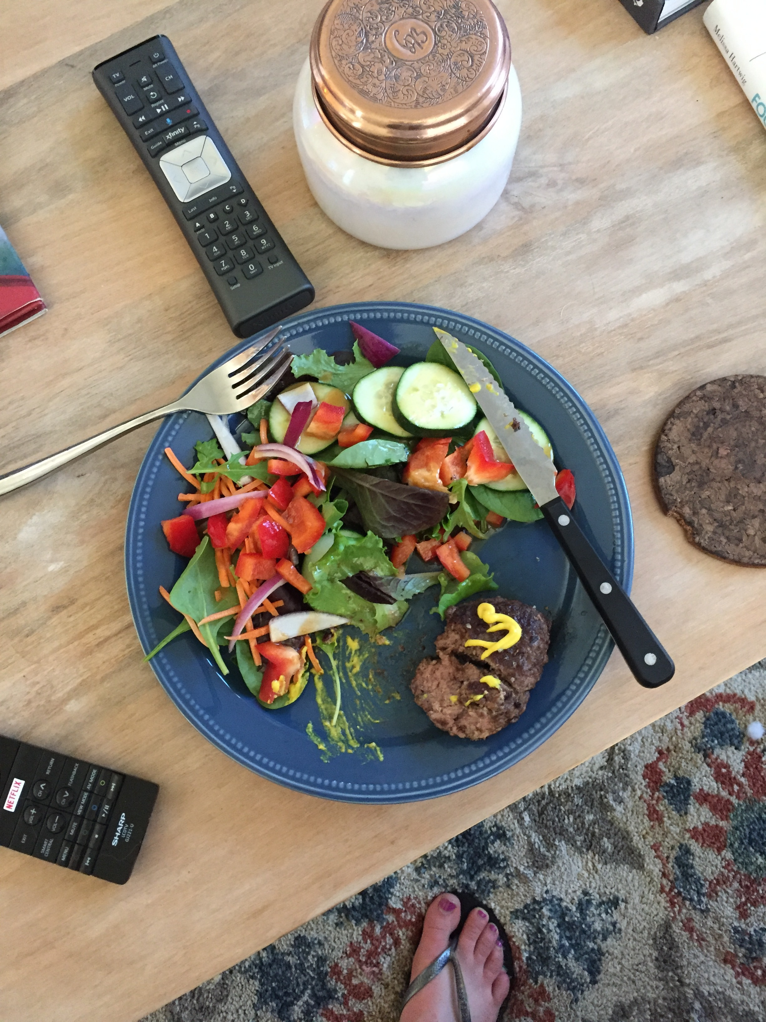 Bun-less Burgers - Sorry the picture is ugly, I am so not a food blogger, and this was mid-bite! I make my own burgers with ghee in the cast iron skillet, and tend to eat them with a huge salad. Sometimes, I ditch the mustard and use avocado on the burger, too.This salad has spinach, red onion, red pepper, cucumber, and Tessemae's balsamic vinaigrette (totally compliant for a sugar detox).