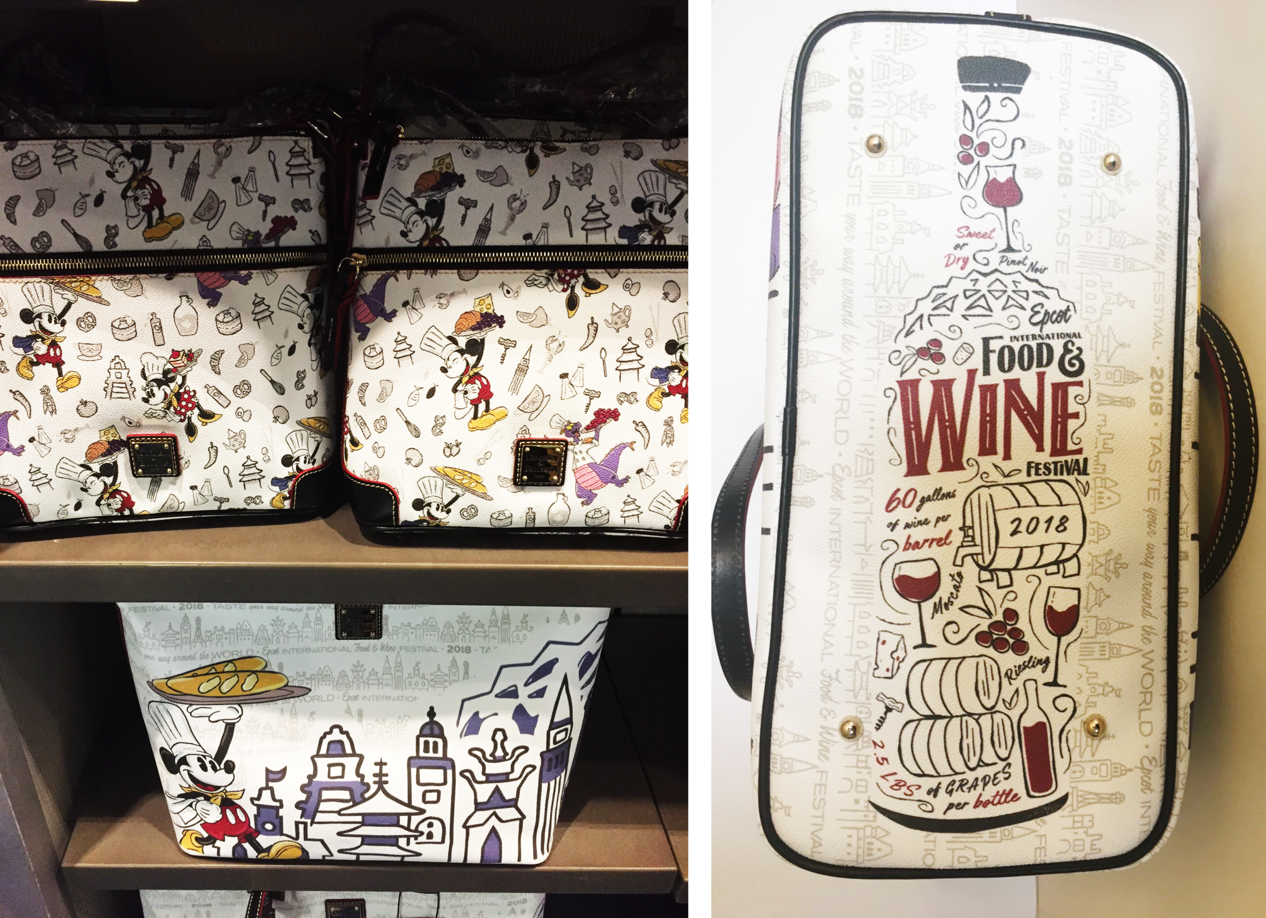 Icons featured on the annual Dooney and Bourke festival bags, as well as the full wine illustration featured on the Dooney and Bourke tote bag.