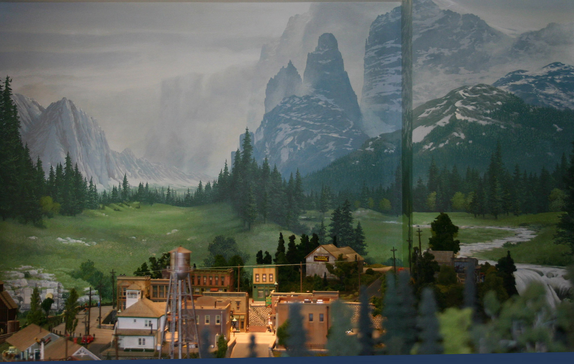 Model train backdrop