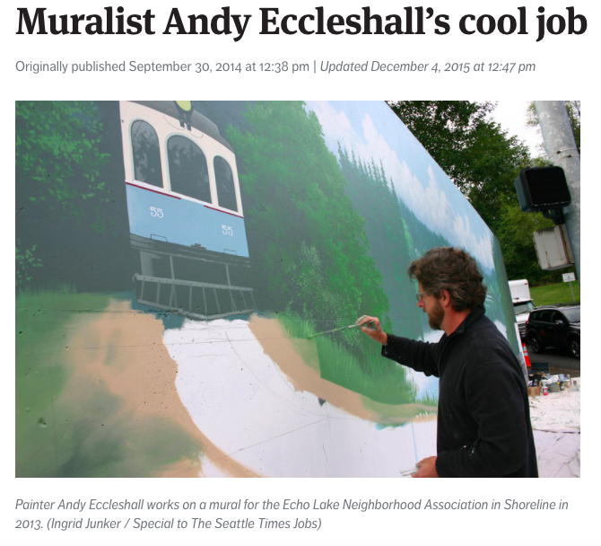 Andy Eccleshall paints Shoreline mural