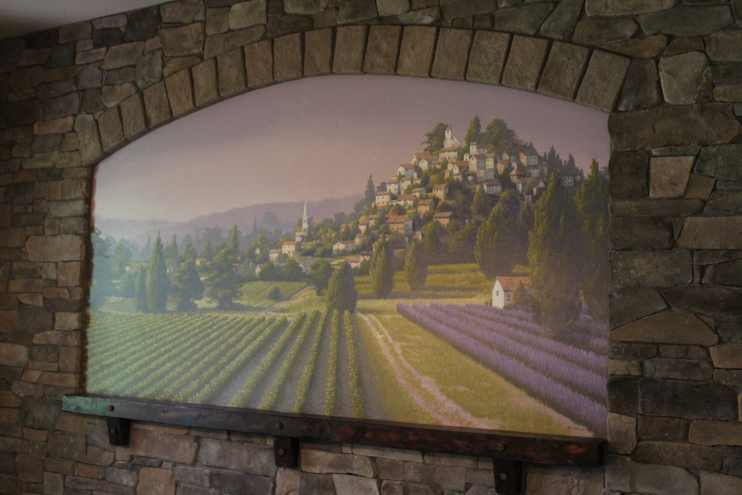 Provence inspired dining room mural