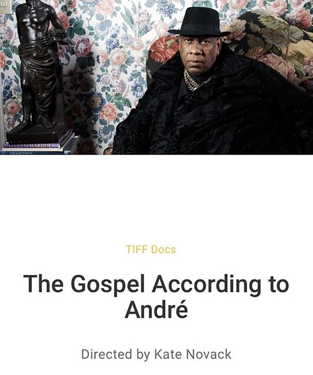 The Gospel According to Andre, the new doc on @andreltalley directed by @rossvack and produced by @a_rossi will be premiering at @tiff_net this September. The film features music by @ihultquist and @ladysofia , titles by @teddyblanks , cinematography by @bryansarkinen editing by Andrew Coffman and @thomasrm21 , executive produced by Daniel Pine and @lindseyacree Thanks to @thompowers1 and @cameronpbailey for selecting us for this year's program.  #tiff2017  #gospelofandre