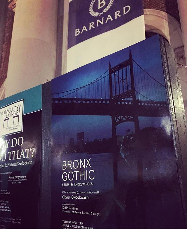 #BronxGothic screens at #barnard tonight with Q&A: @bornokwui & @a_rossi