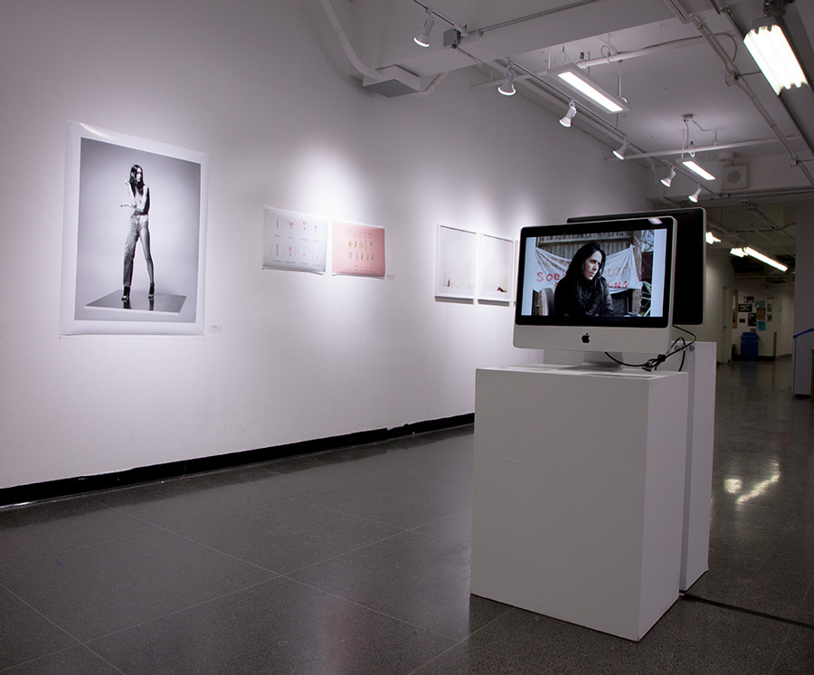 Installation shot from  Gender & The Lens   Front monitor: WildFires: Women Photographers Network in Scotland, WHEN THE LIGHT SHIFTS  Back wall by Michael Seleski (OCAD U alumni), Ashley Hiltz (OCAD U Photo Major) and Mara Gajic (OCAD U alumni).
