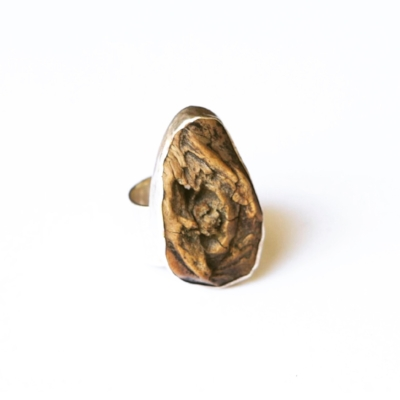 Silver and olive wood ring, from decayed root ball, Marin County CA